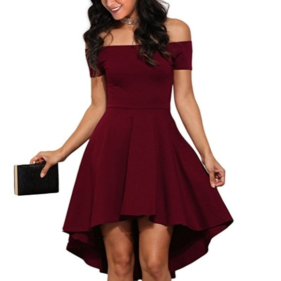 d717fef5b32f CHARLOTTE Maroon High Low Off Shoulder Dress